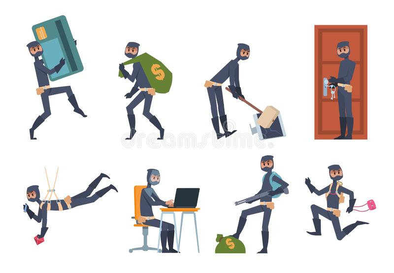 Cartoon thief. Car burglary and house robbery flat scenes, criminal person wearing black clothes. Vector hacking and stock illustration