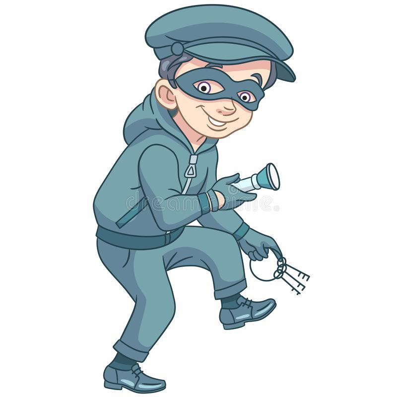 Cartoon thief in mask with keys royalty free stock photo
