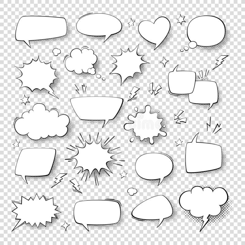 Free Cartoon Thought Bubble Set. Comic Empty Talk And Speech Balloons Or Clouds For Fun Discussion Message Vector Symbols Stock Photos - 159243213