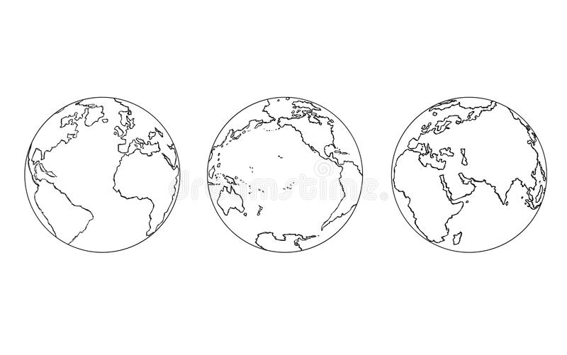 Cartoon of Three Views of Planet Earth Globe stock illustration