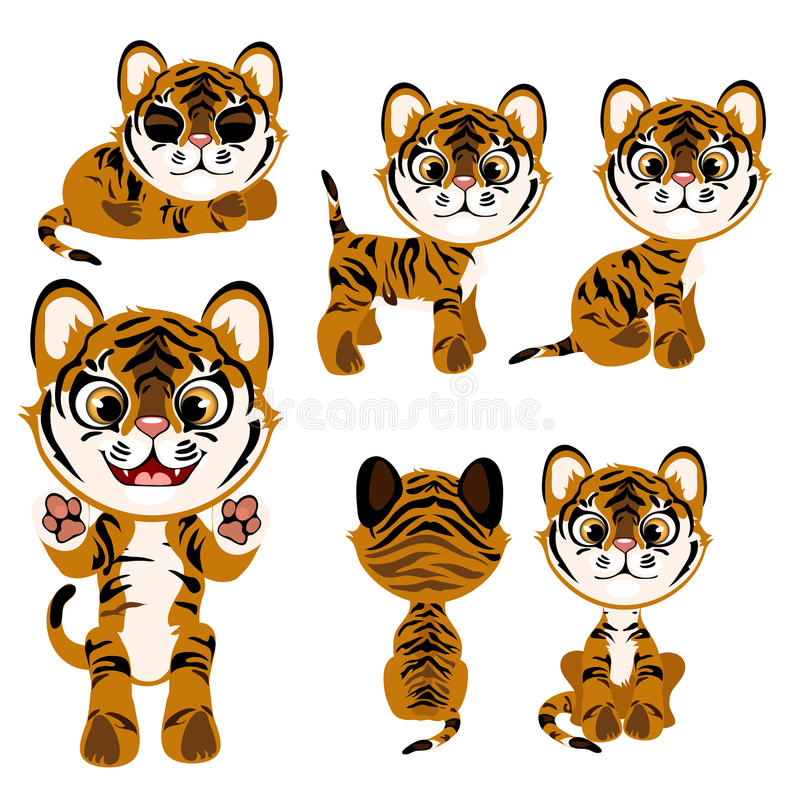 Cartoon tiger in different poses and with different mood. Vector illustration on a white background stock illustration