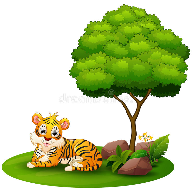 Cartoon tiger lay down under a tree on a white background. Illustration of Cartoon tiger lay down under a tree on a white background royalty free illustration