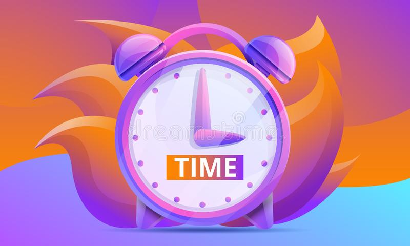Cartoon time concept design with clock. Vector illustration royalty free illustration