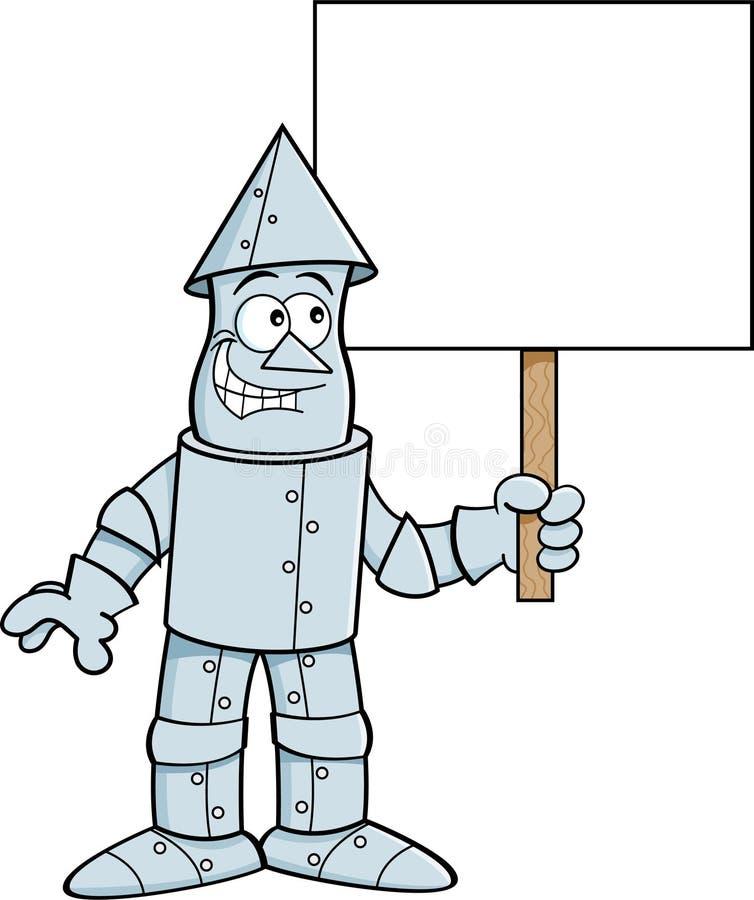 Cartoon tin man holding a sign. vector illustration