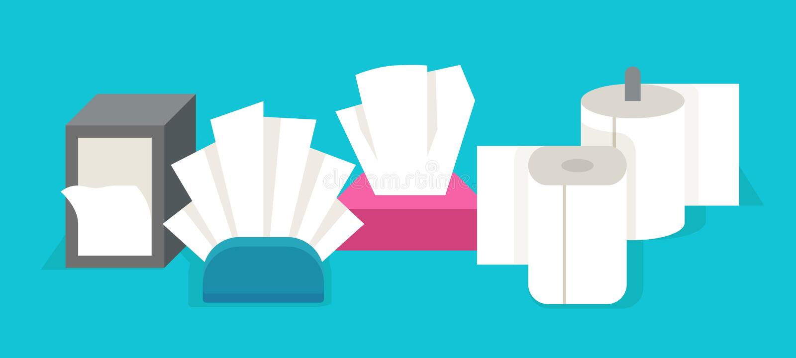 Cartoon tissue. Flat rolled paper napkins and hand dryer, toilet paper and hand dryer tissues. Vector napkins boxes and stock illustration