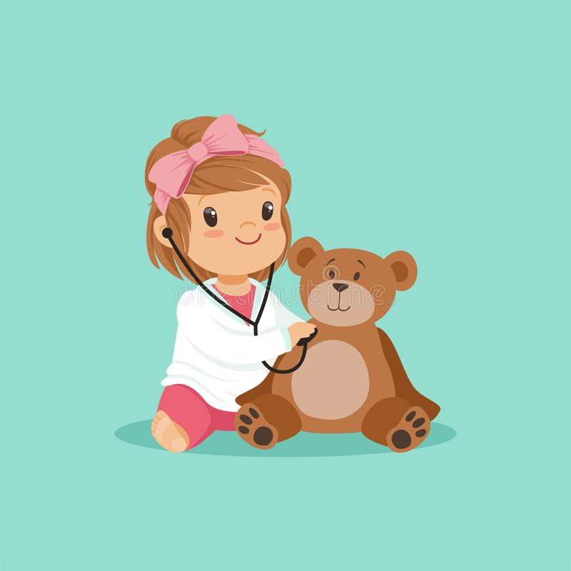 Cartoon toddler girl playing doctor, examining her plush teddy bear toy with stethoscope. Flat design baby character in stock illustration