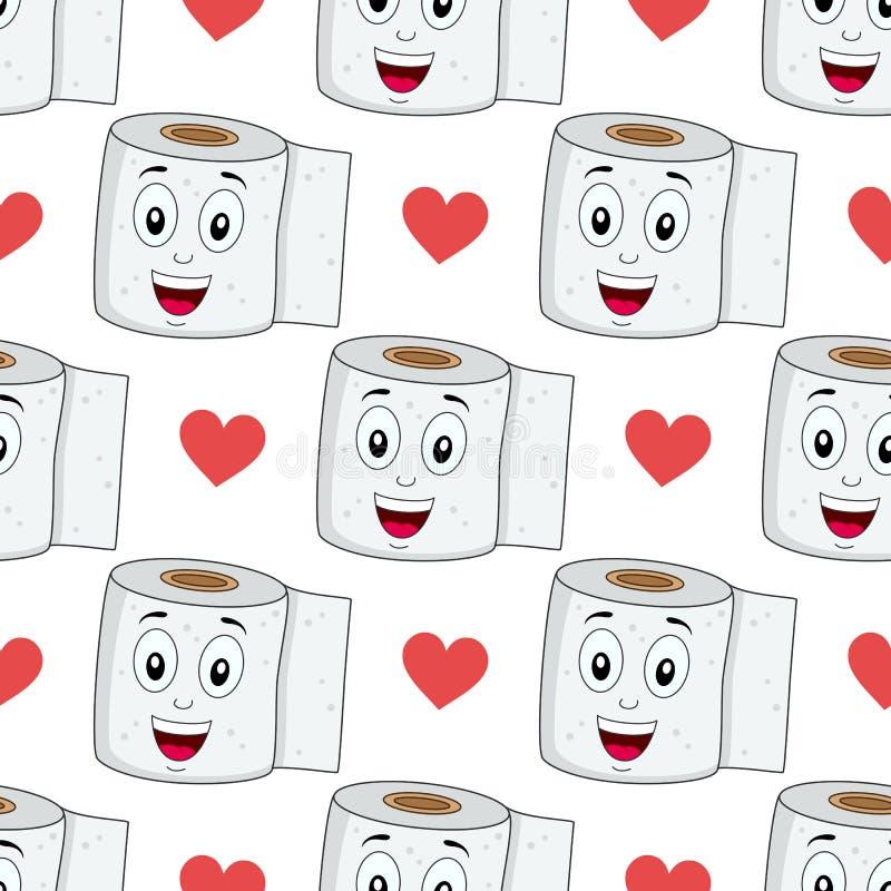 Cartoon Toilet Paper Seamless Pattern vector illustration