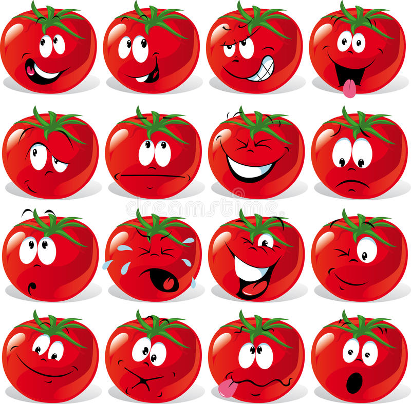 Download Cartoon Tomato With Many Expressions Royalty Free Stock Photography - Image: 21572067