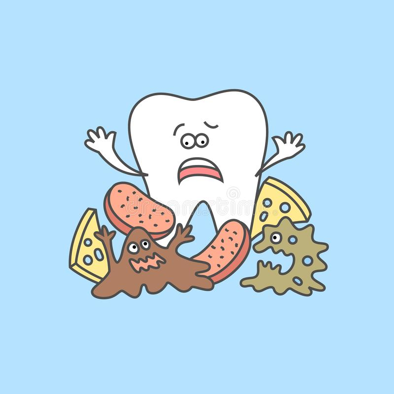 Cartoon tooth with bacteria and food debris. vector illustration