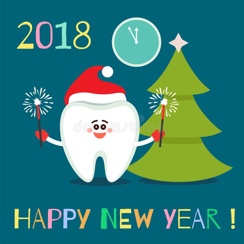Cartoon tooth with bengal lights. Happy New Year stock illustration