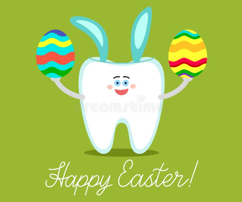 Cartoon tooth with bunny ears holds an painted eggs with wishings vector illustration