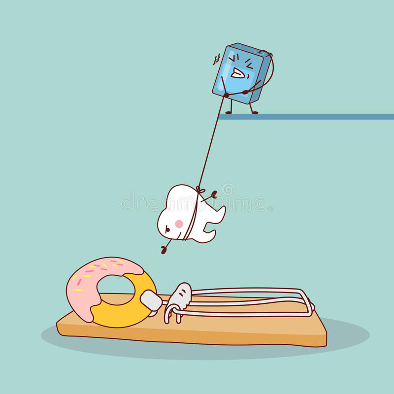 Cartoon tooth with dental floss. Against the danger of donuts , great for health dental care concept stock illustration