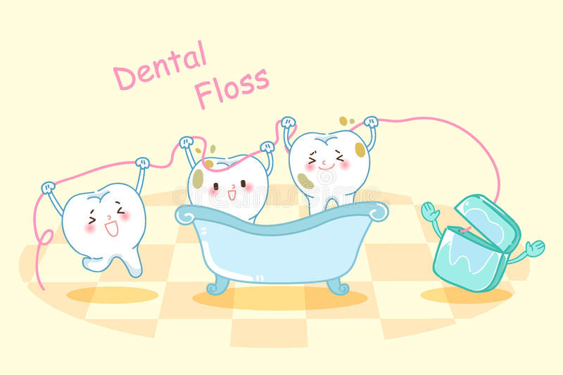 Cartoon tooth with dental floss. Cute cartoon tooth take bath with dental floss vector illustration