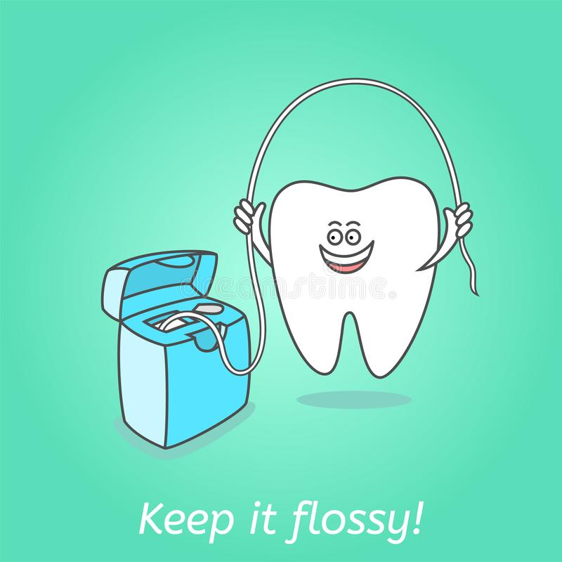 Cartoon tooth with dental floss. Dentistry poster. Cartoon tooth with dental floss. Teeth care concept and hygiene. Dental illustration for kids. Keep it flossy vector illustration