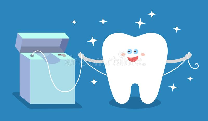 Cartoon tooth with dental floss, sparkles on blue background. stock illustration