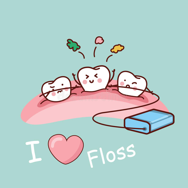 Cartoon tooth with dental floss. Great for health dental care concept royalty free illustration