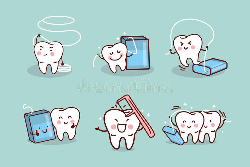 Cartoon tooth with dental floss. Great for health dental care concept vector illustration