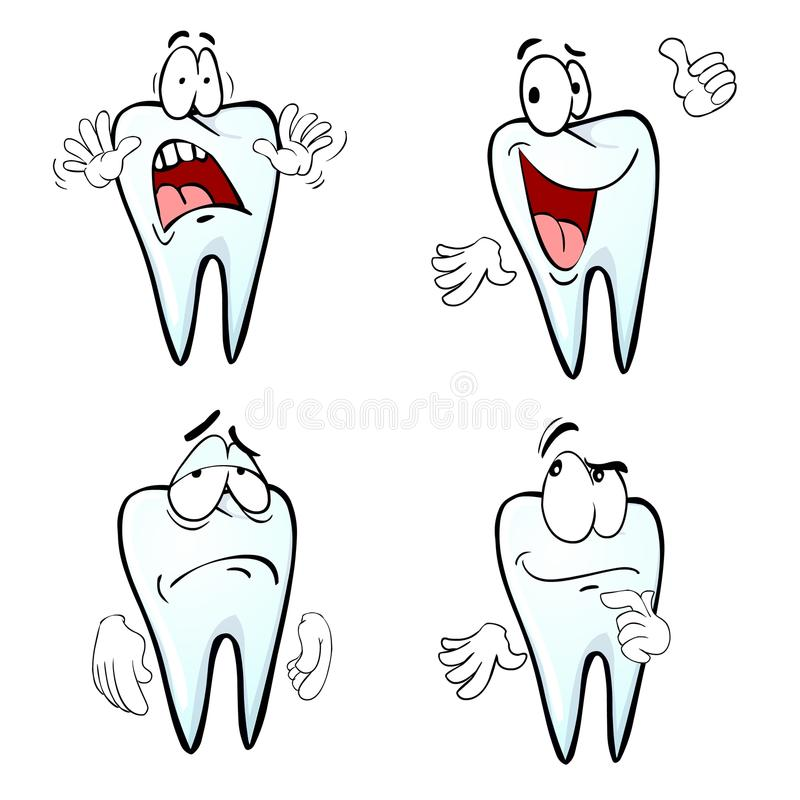 Cartoon tooth emotions. Cartoon tooth character with four diferent emotion royalty free illustration