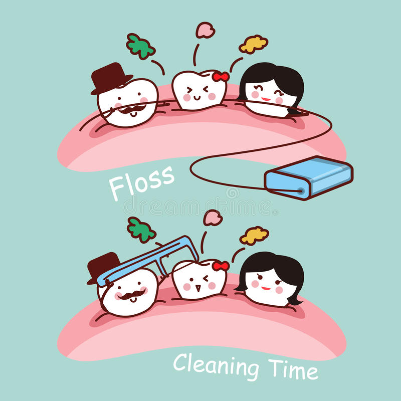 Cartoon tooth family with floss. Cartoon tooth family with dental floss, great for health dental care concept vector illustration
