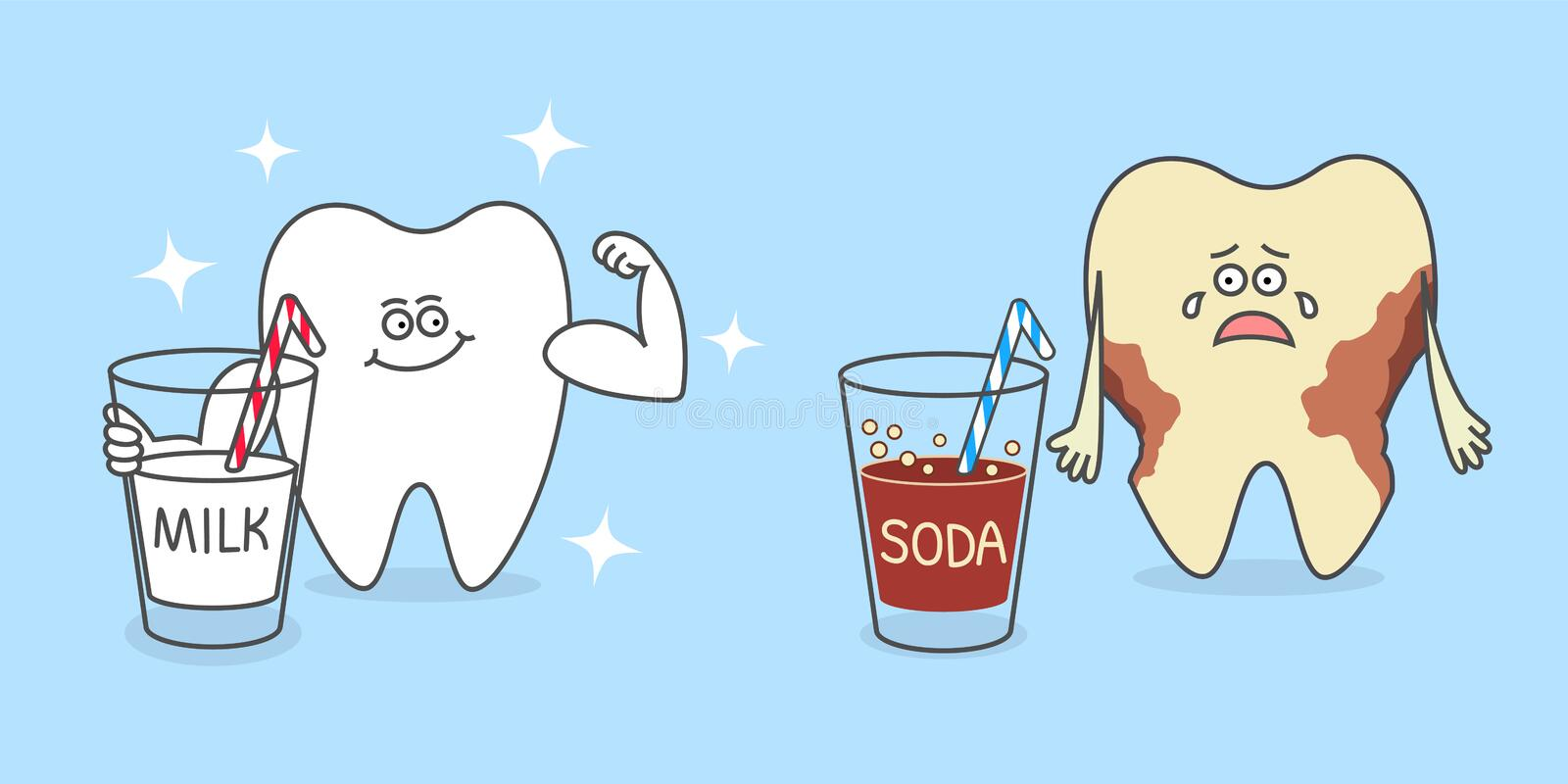 Cartoon tooth with a glass of milk and with a soda stock illustration