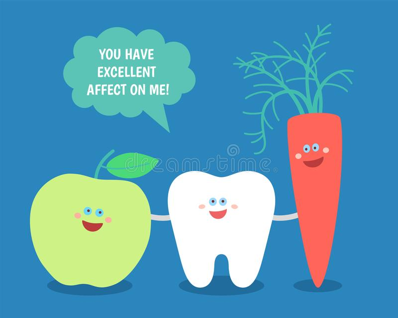 Cartoon tooth with green apple and carrot. Good food for your teeth. vector illustration
