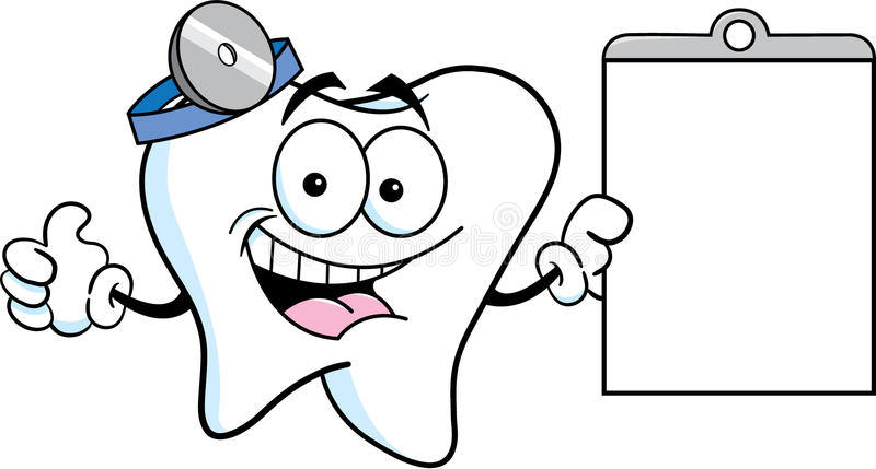 Cartoon tooth holding a chart royalty free illustration