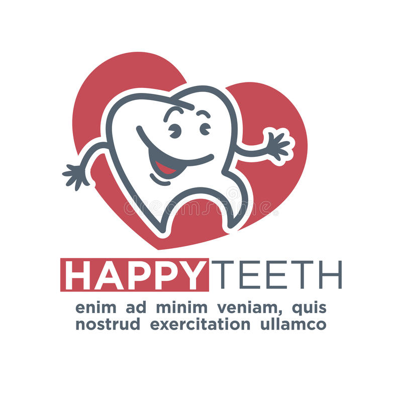 Cartoon tooth logo template for child dentistry or dental toothpaste product label tag. Happy teeth smiling character vector illustration