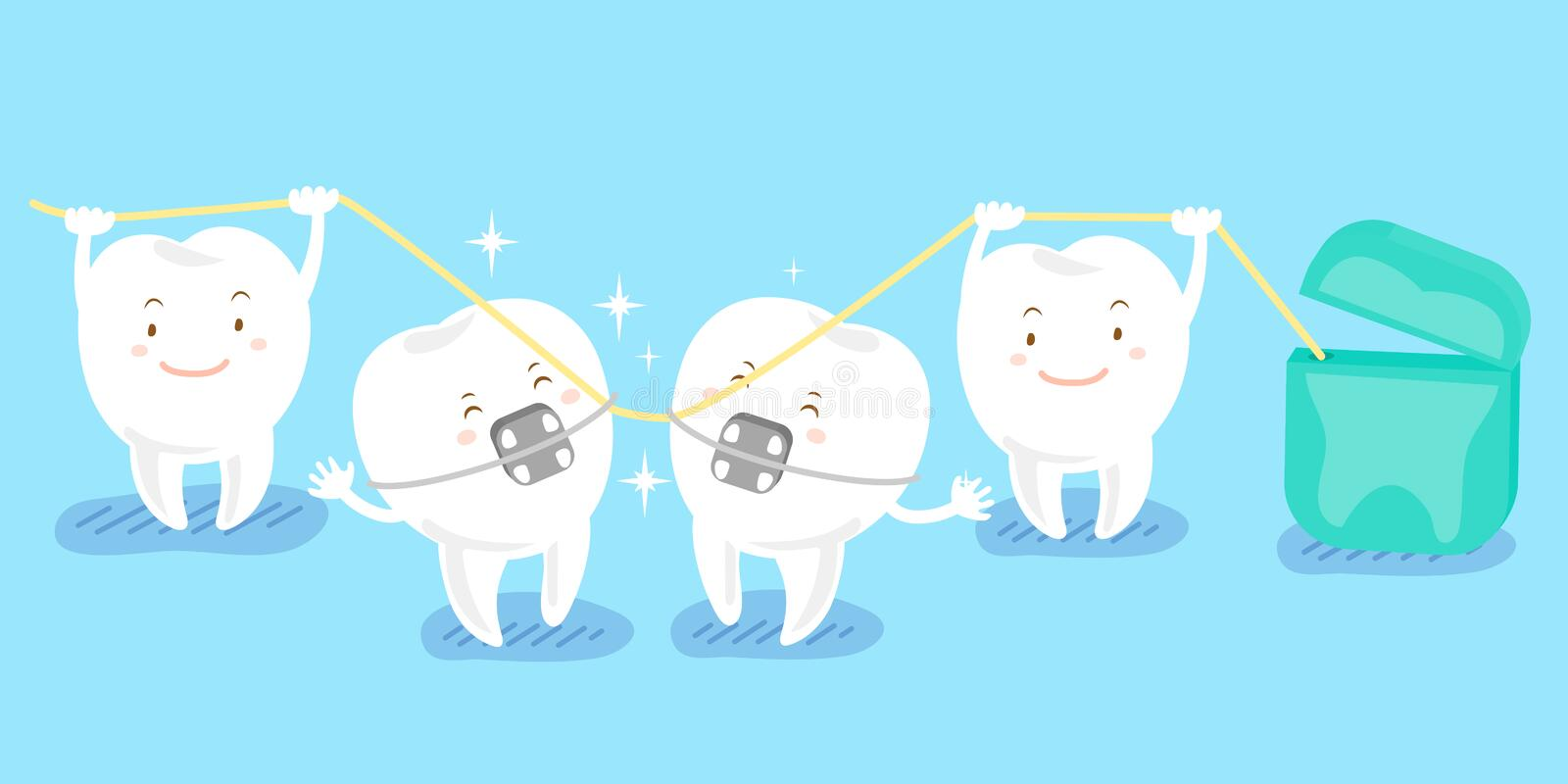 Cartoon tooth playing with floss. Cute cartoon tooth playing with floss happily vector illustration