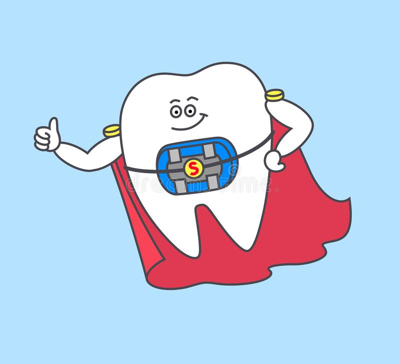 Cartoon tooth superman with braces and blue rubber bands and a red cloak. vector illustration