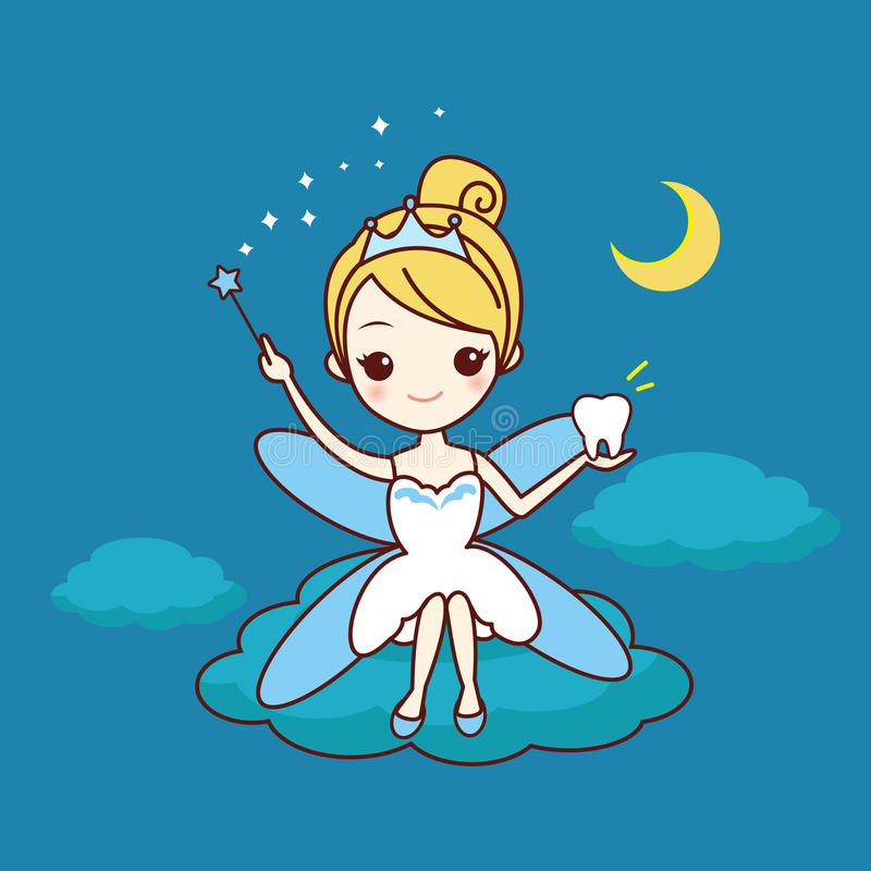 Cartoon tooth with tooth fairy royalty free illustration