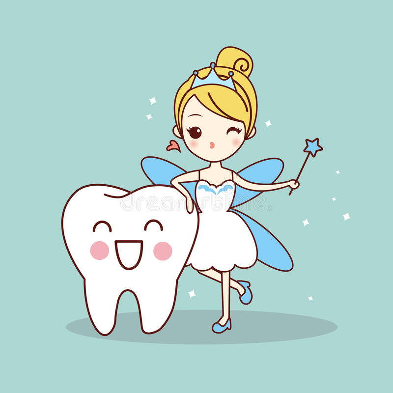 Cartoon tooth with tooth fairy stock illustration