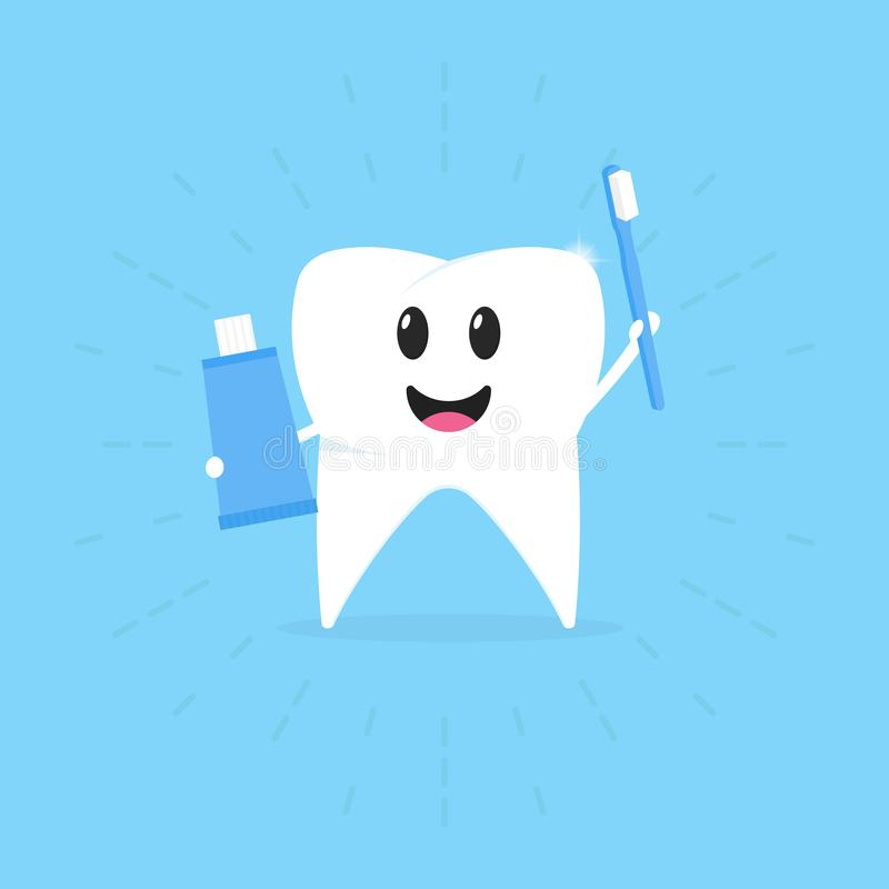 Cartoon tooth with a toothbrush and a paste in hand smiling, healthy teeth, vector illustration royalty free stock photo