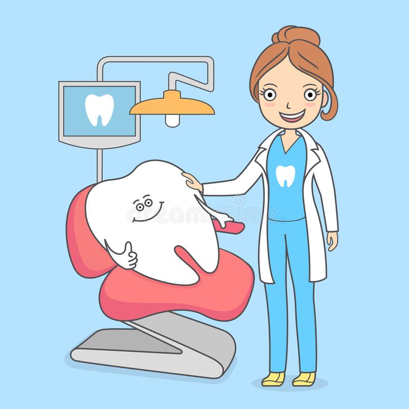 Cartoon tooth visiting a dental office. Tooth sitting in a chair and a dentist woman. Treating teeth vector illustration