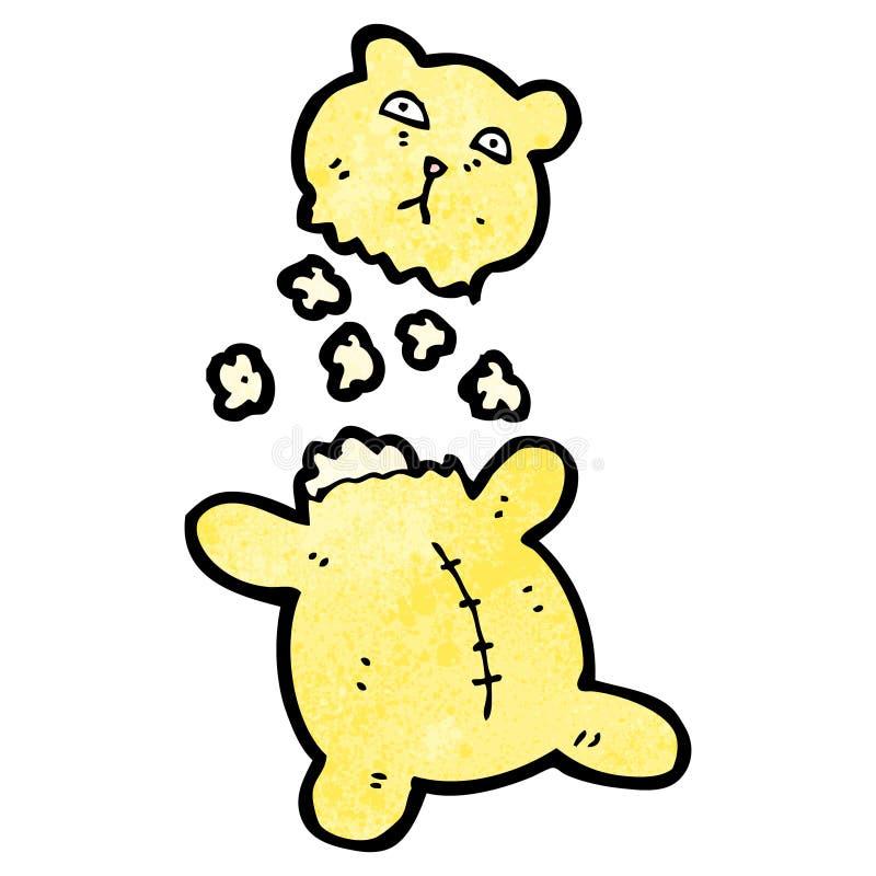 Cartoon torn teddy bear. Retro cartoon with texture. Isolated on White stock illustration