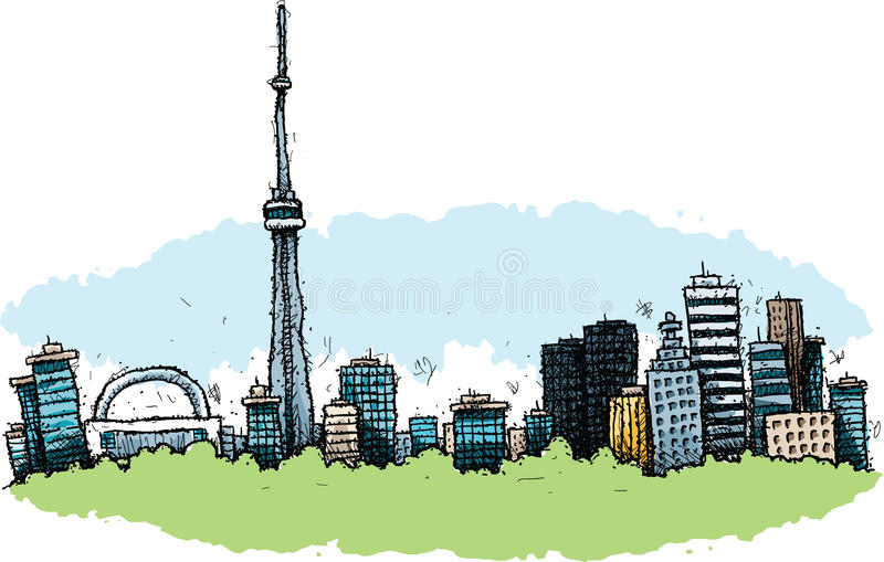 Cartoon Toronto. Cartoon of the downtown of the city of Toronto, Ontario, Canada vector illustration