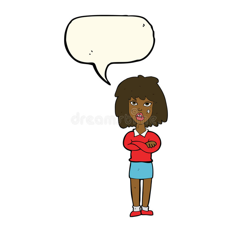 Cartoon tough woman with folded arms with speech bubble royalty free illustration
