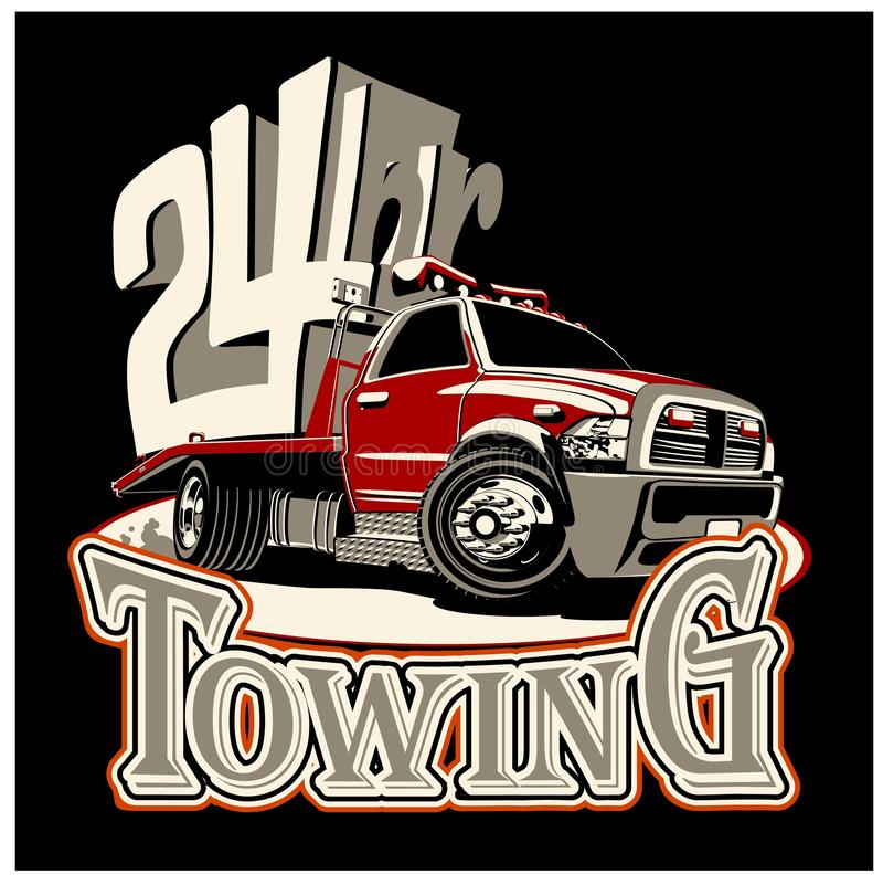 Free Cartoon Tow Truck Isolated On Black Background Royalty Free Stock Image - 153392786
