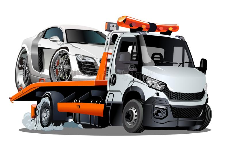 Cartoon tow truck isolated on white background. Available EPS-10 vector format separated by groups and layers for easy edit stock illustration