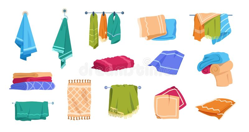 Cartoon towels. Bath rolled fabric, kitchen hand textile cloth and washcloth for dishes, family cotton towels pile. Vector set illustration hotel fresh fluffy royalty free illustration