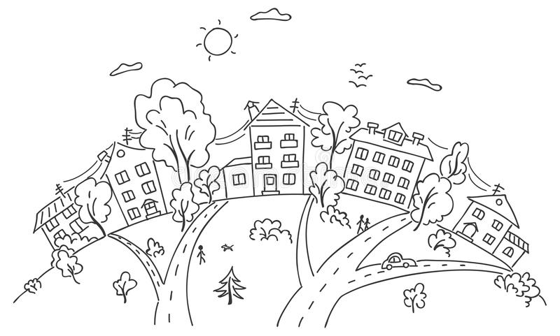 Cartoon town on a hill vector illustration