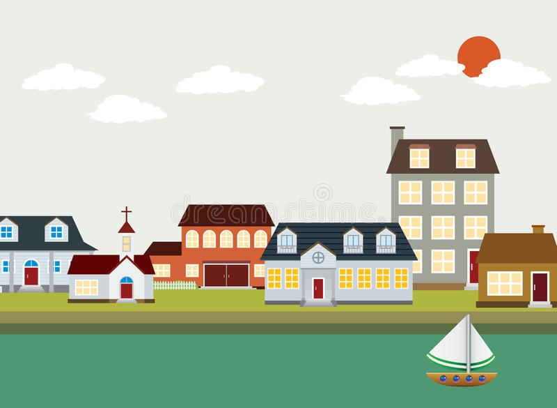 Cartoon town - Vector Landscape stock illustration