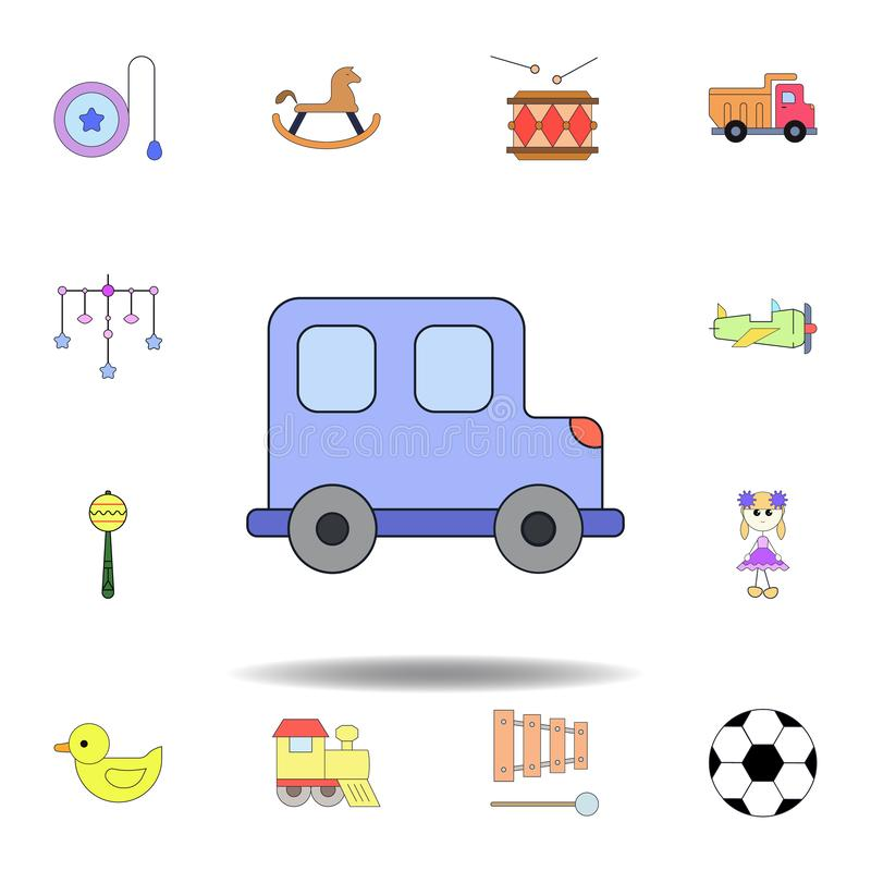 Cartoon toy car colored icon. set of children toys illustration icons. signs, symbols can be used for web, logo, mobile app, UI,. UX on white background stock illustration