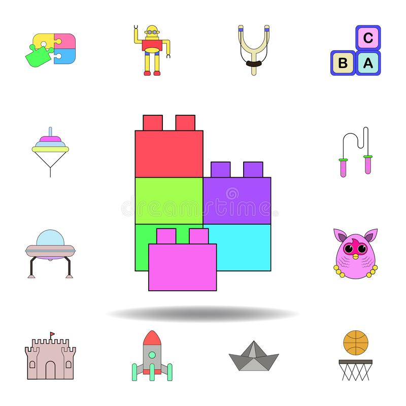 cartoon toy colored icon. set of children toys illustration icons. signs, symbols can be used for web, logo, mobile app, UI, UX royalty free illustration