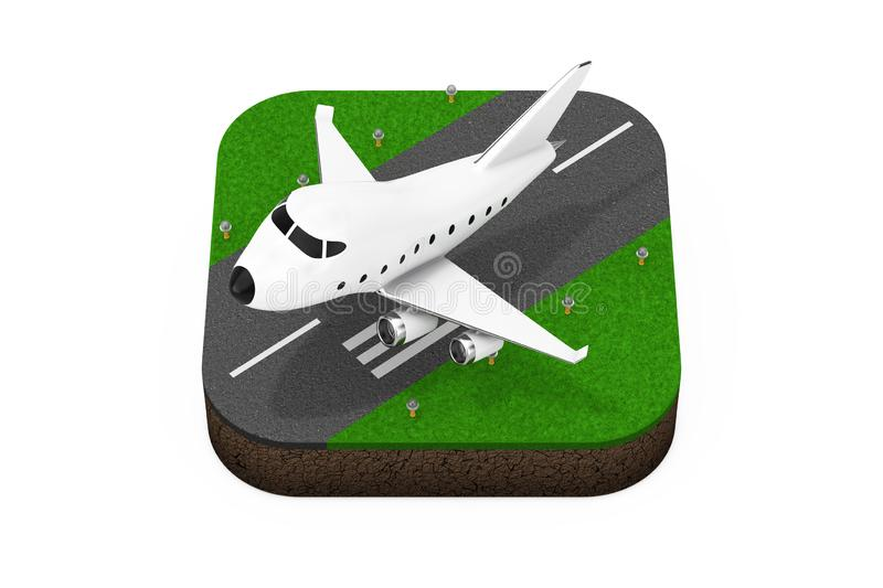 Cartoon Toy Jet Airplane Takeoff from Runway Isometric Icon. 3d Rendering. Cartoon Toy Jet Airplane Takeoff from Runway Isometric Icon on a white background 3d vector illustration