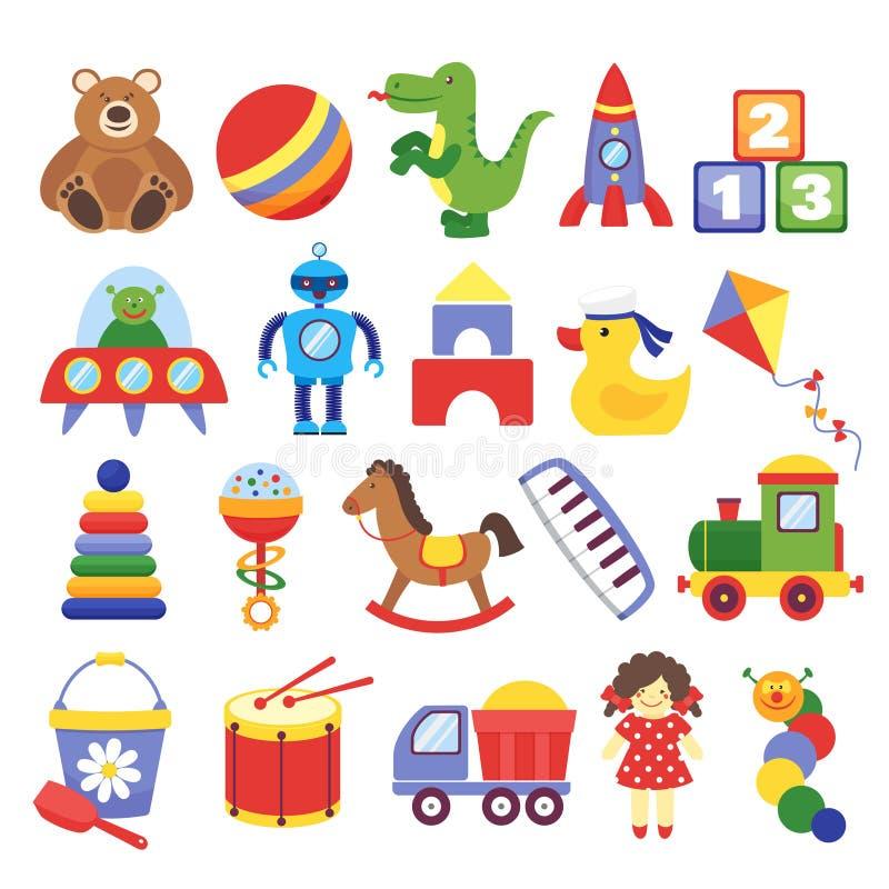 Cartoon toys. Game toy teddy bear dinosaur rocket childrens cubes kite robot. Kids dolls vector. Collection stock illustration