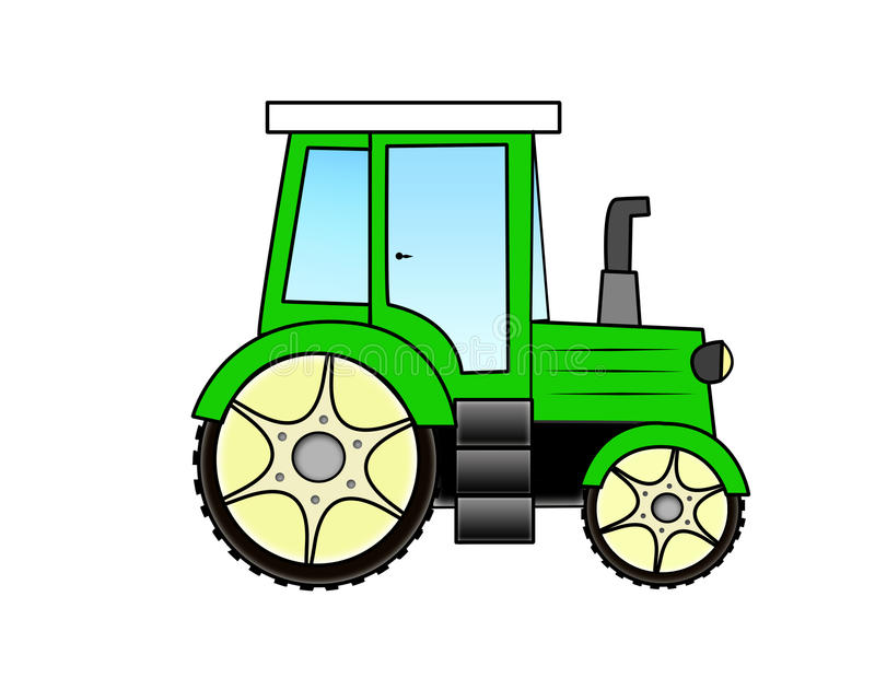Up The Tractor Green Tractor With Bucket Cartoon : Cartoon tractor stock illustration of wheel