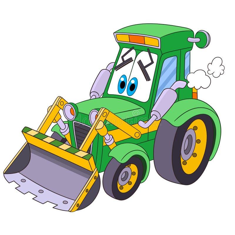 Cartoon tractor bulldozer royalty free stock photo
