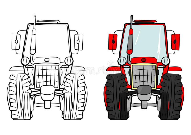 Cartoon tractor. Illustration set on a white background. Vector vector illustration