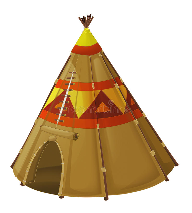 Cartoon traditional tent - tee pee - isolated. Beautiful and colorful illustration for the children - for different usage - for fairy tales stock illustration