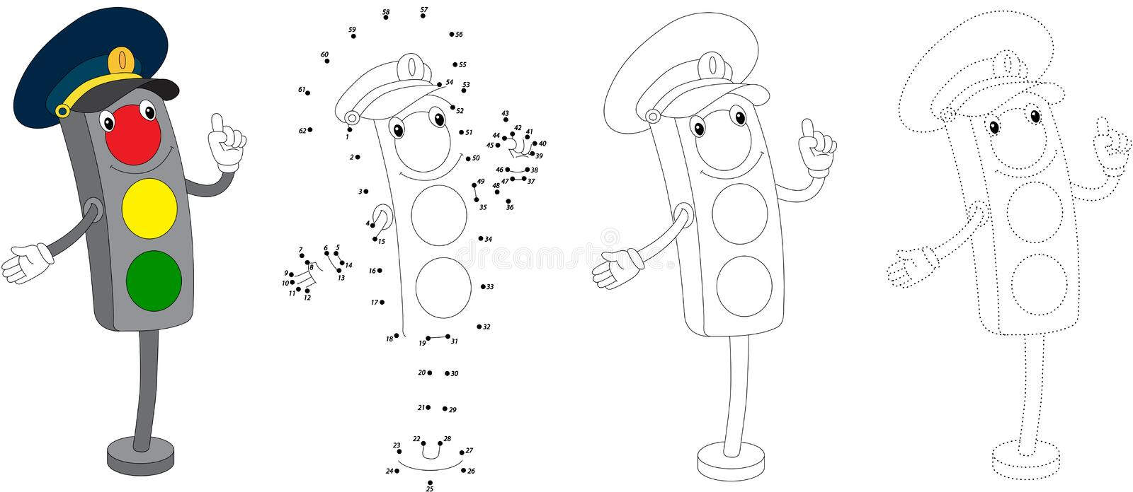 Cartoon traffic light. Vector illustration. Dot to dot game for stock illustration